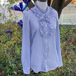 J. Crew pin stripe button down ruffle blouse sz 0